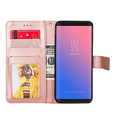 Недорогие Чехлы и кейсы для Galaxy S6 Edge-Кейс для Назначение Samsung S8 Plus / S8 / S7 edge Кошелек / Бумажник для карт / со стендом Чехол Однотонный Твердый Кожа PU