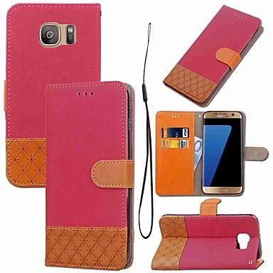 Недорогие Чехлы и кейсы для Galaxy S3 Mini-Кейс для Назначение SSamsung Galaxy S8 Plus / S8 / S7 edge Кошелек / Бумажник для карт / со стендом Чехол Геометрический рисунок Твердый текстильный