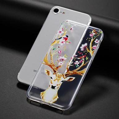 Hülle Für Apple iPhone 7 Plus iPhone 7 Transparent Muster Geprägt Rückseite Blume Tier Weich TPU für iPhone 7 Plus iPhone 7 iPhone 6s