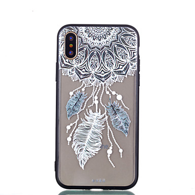 voordelige iPhone 7 hoesjes-hoesje Voor Apple iPhone X / iPhone 8 Plus / iPhone 8 Transparant / Reliëfopdruk / Patroon Achterkant Dromenvanger / Veren / Bloem Hard PC
