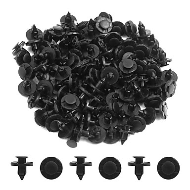 100pcs 8mm Dia Black Plastic Splash Carpet Push-Type Interior Mat Clips for Cars