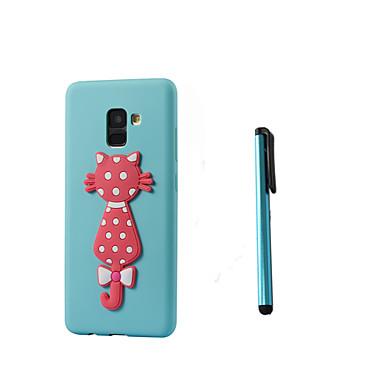 voordelige Galaxy A-serie hoesjes / covers-hoesje Voor Samsung Galaxy A8 2018 / A8+ 2018 Doorzichtig / Patroon Achterkant Kat Zacht TPU