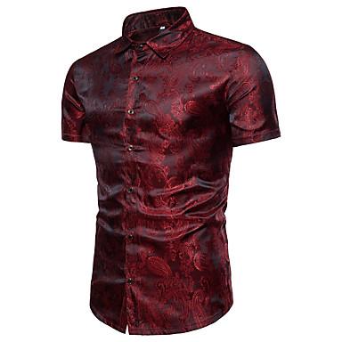 baratos Roupa de Homem Moderna-Homens Camisa Social Luxo Sólido Algodão Colarinho Clerical Azul Marinha XL / Manga Curta / Verão