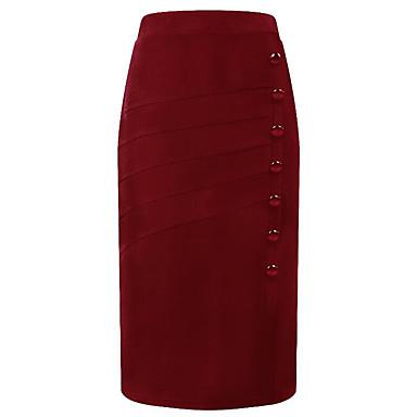 billige Nederdele-Dame Plusstørrelser Basale A-linje Nederdele - I-byen-tøj Ensfarvet Høj Talje / Tynd