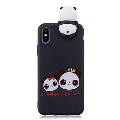 voordelige iPhone 7 hoesjes-hoesje Voor Apple iPhone XS / iPhone XR / iPhone XS Max Schokbestendig / Patroon / DHZ Achterkant Cartoon / 3D Cartoon / Panda Zacht TPU