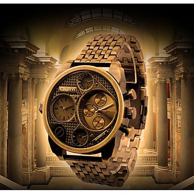 זול שעוני גברים-Oulm בגדי ריקוד גברים שעונים יום יומיים שעוני אופנה Japanese קווארץ עור שחור / זהב עמיד במים שעונים יום יומיים אנלוגי פאר אופנתי - שחור ברונזה אדום כהה