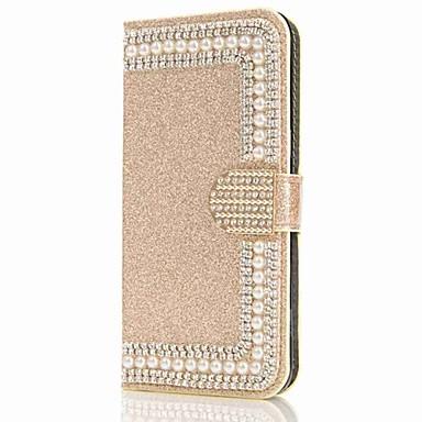 Недорогие Чехлы и кейсы для Galaxy S6 Edge-Кейс для Назначение SSamsung Galaxy S9 / S9 Plus / S8 Plus Кошелек / Бумажник для карт / Стразы Чехол Сияние и блеск / Цветы Твердый Кожа PU