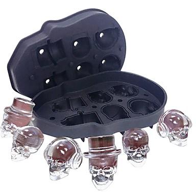 6 cavitate craniu cap gheață mucegai skeletonsilicone cuburi de gheață băuturi whisky bere
