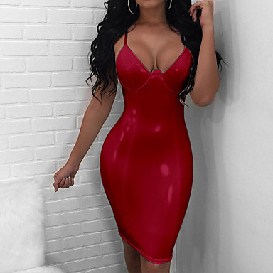 cheap Bodycon Dresses-Women's Party Club Basic Slim Bodycon Dress - Solid Colored V Neck Spring Black Red Beige M L XL / Sexy