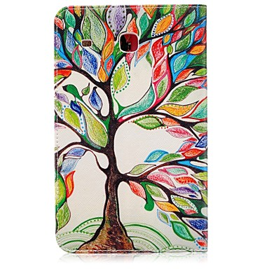 [$11.59] Case For Samsung Galaxy Tab E 8.0 Card Holder Wallet with Stand Pattern Auto Sleep / Wake Up Full Body Cases Tree Hard PU Leather for Tab