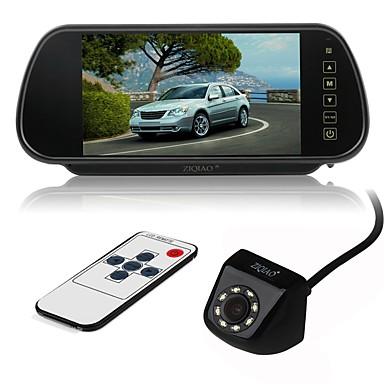 billige Bil Bakspejl Kamera-ziqiao 7 tommer farve tft lcd bil bagspejl skærm og 8 ledet ccd hd vandtæt bil bagfra kamera
