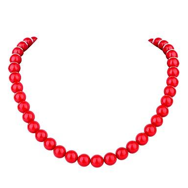 billige Modesmykker-Dame Perle Lyserød Kædehalskæde Damer Bohemisk Mode Boheme Perle Rød 45.5 cm Halskæder Smykker Til Ceremoni Karneval