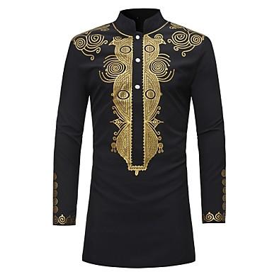billige Herrers Mode Beklædning-Stående krave Herre - Tribal Trykt mønster Vintage Skjorte Sort XL / Langærmet