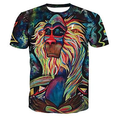 economico Abbigliamento uomo-T-shirt - Taglie forti Per uomo Essenziale / Esagerato Con stampe, Animali Rotonda Verde XL / Manica corta / Estate