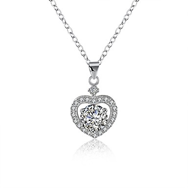 povoljno Modne ogrlice-Žene Dijamant Kubični Zirconia Moissanite Ogrlice s privjeskom Srce dame Moda S925 Sterling Silver Pink 40 cm Ogrlice Jewelry 1 Za Dar Dnevno