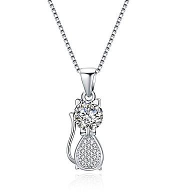 povoljno Modne ogrlice-Žene Dijamant Kubični Zirconia mali dijamant Ogrlice s privjeskom Mačka dame Moda S925 Sterling Silver Pink 41 cm Ogrlice Jewelry 1 Za Dar Dnevno