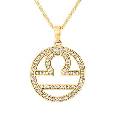 billige Mode Halskæde-Kvadratisk Zirconium lille diamant Zodiac Halskædevedhæng Mode Guld Sølv 55 cm Halskæder Smykker Til Daglig