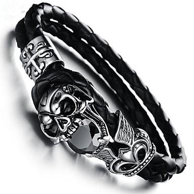 economico Bracciali Uomo-Zircone cubico Braccialetti Bracciali in pelle geometrico Teschio Vintage Pelle Gioielli braccialetto Nero Per Regalo Quotidiano