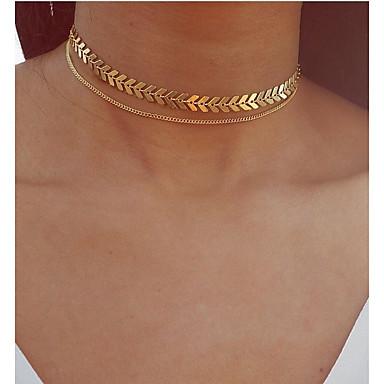 olcso Divat nyaklánc-Többrétegű Rövid nyakláncok Nyaklánc medálok Rakott nyakláncok Leaf Shape hölgyek Vintage Bohém Európai Arany Ezüst 30 cm Nyakláncok Ékszerek Kompatibilitás Party / estély Ajándék