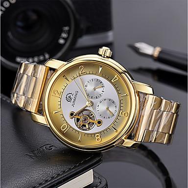 Χαμηλού Κόστους Ανδρικά ρολόγια-Ανδρικά μηχανικό ρολόι Ανοξείδωτο Ατσάλι Ασημί 50 m Εσωτερικού Μηχανισμού Μεγάλο καντράν Αναλογικό Πολυτέλεια Σκελετός - Μαύρο / Λευκό Άσπρο / Χρυσαφί Χρυσό / Ασημί / Μαύρο