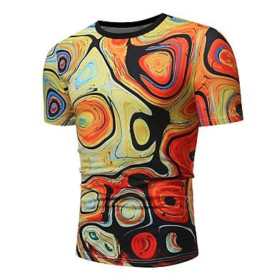 billige Herrers Mode Beklædning-Rund hals Herre - Farveblok Bomuld Vintage / Basale Sport T-shirt Sort & Rød Regnbue XL / Kortærmet