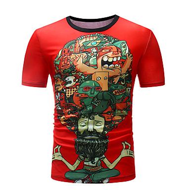 billige Herrers Mode Beklædning-Herre - Geometrisk / Farveblok / Portræt Patchwork / Trykt mønster T-shirt