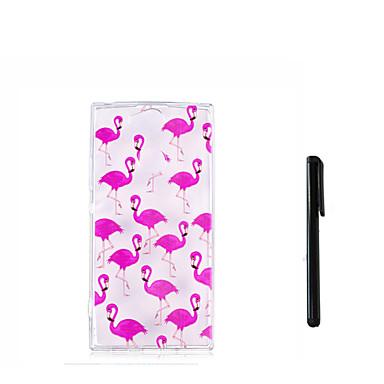 voordelige Hoesjes / covers voor Sony-hoesje Voor Sony Xperia XZ1 Compact / Sony Xperia XZ1 / Xperia XA2 Ultra Doorzichtig Achterkant Flamingo Zacht TPU