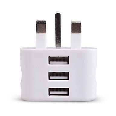 Портативное зарядное устройство Зарядное устройство USB Стандарт Великобритании 3 USB порта 2.1 A 100~240 V для