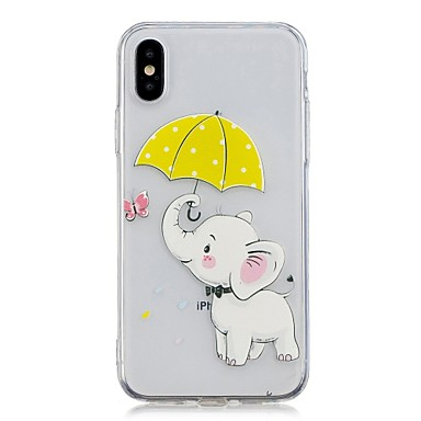 voordelige iPhone 5 hoesjes-hoesje Voor Apple iPhone X / iPhone 8 Plus / iPhone 8 Transparant / Patroon Achterkant dier / Olifant Zacht TPU