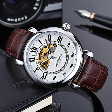 Χαμηλού Κόστους Ανδρικά ρολόγια-Ανδρικά Στρατιωτικό Ρολόι μηχανικό ρολόι Ιαπωνικά Αυτόματο κούρδισμα Γνήσιο δέρμα Μαύρο / Καφέ 50 m Χρονογράφος Εσωτερικού Μηχανισμού Απίθανο Αναλογικό Πολυτέλεια Καθημερινό -  / Ανοξείδωτο Ατσάλι