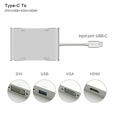 billige Mac-kabler-Type-C Adapter <1m / 3ft 1 til 4 Aluminium USB-kabeladapter Til MacBook / MacBook Air / MacBook Pro