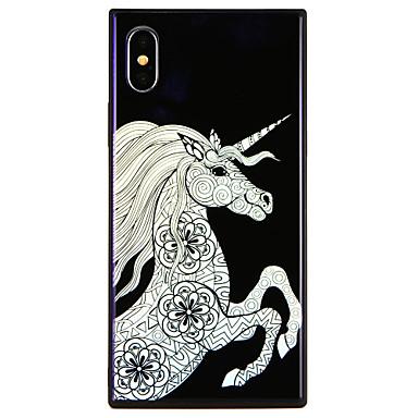 voordelige iPhone X hoesjes-hoesje Voor Apple iPhone X / iPhone 8 Plus / iPhone 8 Patroon Achterkant Eenhoorn / Cartoon Hard Gehard glas