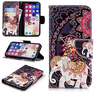 voordelige iPhone 6 Plus hoesjes-hoesje Voor Apple iPhone X / iPhone 8 Plus / iPhone 8 Portemonnee / Kaarthouder / met standaard Volledig hoesje dier / Olifant / Bloem Hard PU-nahka