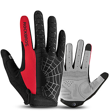 ROCKBROS اصبع كامل للجنسين دراجة نارية قفازات قماش الشاشات التي تعمل باللمس / متنفس