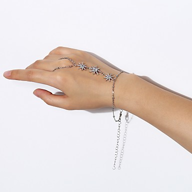 Women S Single Strand Chain Bracelet Ring Slave Star Tropical Korean