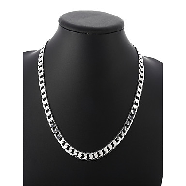 662301eef150 abordables Joyería Hombre-Hombre Enlace cubano Trenzado Collares de cadena  Plateado Simple Básico Moda Cool