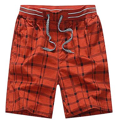 economico Abbigliamento uomo-Per uomo Essenziale Taglie forti Quotidiano Pantaloncini Pantaloni - A scacchi Blu marino Giallo Azzurro XXL XXXL XXXXL / Autunno
