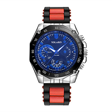 رجالي ساعة المعصم كوارتز سيليكون أزرق / فضة / أحمر ساعة كاجوال مماثل موضة - أزرق الأبيض / الأزرق أسود / رمادي