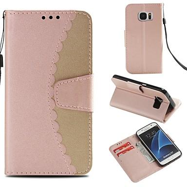 غطاء من أجل Samsung Galaxy S7 محفظة / حامل البطاقات / مع حامل غطاء كامل للجسم لون سادة قاسي جلد PU