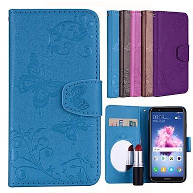 غطاء من أجل Huawei Huawei P smart حامل البطاقات / قلب / نموذج غطاء كامل للجسم لون سادة / فراشة قاسي جلد PU
