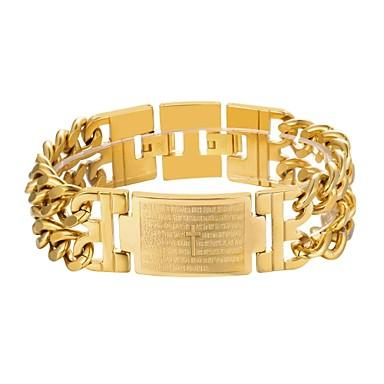 ieftine Brățări-Bărbați Brățări cu Lanț & Legături Chainul gros Σταυρός Modă Teak Bijuterii brățară Auriu / Negru / Argintiu Pentru Cadou Zilnic
