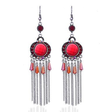 0a6f96d86 Women's Sapphire Drop Earrings Ladies Asian Tattoo Style Gothic Hippie  African Earrings Jewelry Red / Green