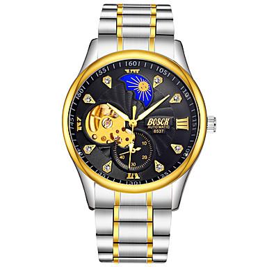 זול שעוני גברים-BOSCK בגדי ריקוד גברים שעון מכני אוטומטי נמתח לבד מתכת אל חלד כסף 30 m עמיד במים חריתה חלולה זוהר בחושך אנלוגי פאר שלד - לבן שחור מוזהב