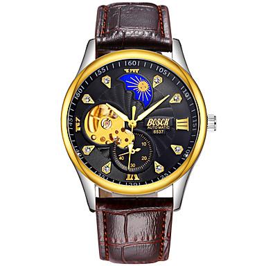 זול שעוני גברים-BOSCK בגדי ריקוד גברים שעון מכני אוטומטי נמתח לבד עור חום 30 m עמיד במים חריתה חלולה זוהר בחושך אנלוגי פאר שלד - לבן שחור מוזהב
