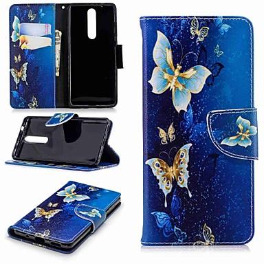 غطاء من أجل نوكيا Nokia 8 / Nokia 6 2018 / Nokia 2.1 محفظة / حامل البطاقات / مع حامل غطاء كامل للجسم فراشة قاسي جلد PU