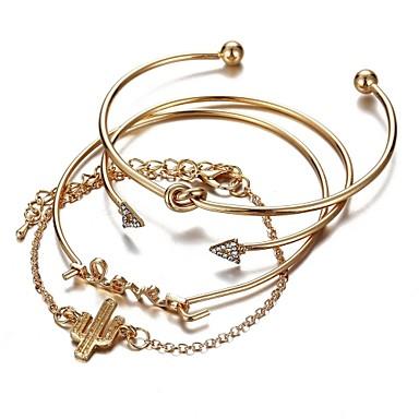 billige Damesmykker-4stk Dame Armbånd Klassisk Retro Alfabet Formet Kaktus Arrow damer Mote søt stil Legering Armbånd Smykker Gull Til Daglig Skole