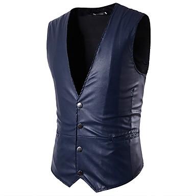 رجالي أزرق البحرية رمادي بني فاتح XL XXL XXXL Vest أساسي لون سادة V رقبة نحيل / بدون كم / عمل