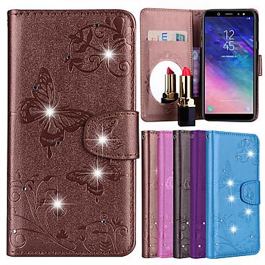 غطاء من أجل Samsung Galaxy A5(2018) / A6 (2018) / A6+ (2018) حامل البطاقات / حجر كريم / مع حامل غطاء كامل للجسم فراشة / زهور قاسي جلد PU