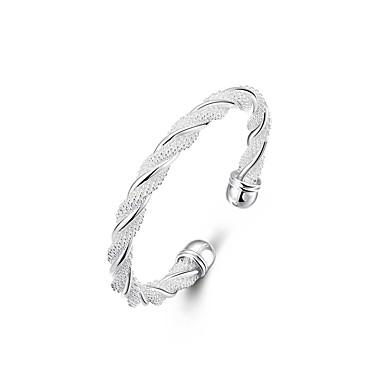Kadın's Bilezikler Halhallar - Gümüş Kaplama Dokuma, Büküm Daire Bayan, Eşsiz Tasarım, Moda, Açık Bilezikler Mücevher Gümüş Uyumluluk Düğün Parti Hediye Günlük