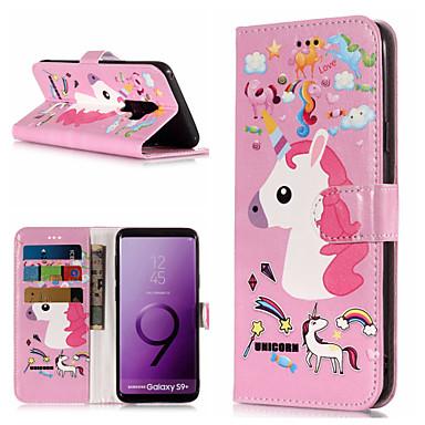 Недорогие Чехлы и кейсы для Galaxy S6 Edge-Кейс для Назначение SSamsung Galaxy S9 / S9 Plus / S8 Plus Кошелек / Бумажник для карт / со стендом Чехол единорогом Твердый Кожа PU